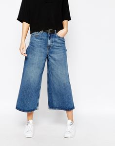 Image 1 of Weekday Extend Seamless Crop Wide Leg Jeans