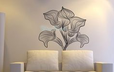 Vinyl wall decal, wall sticker, flower decal, home decor, Kids wall decals-Romantic Flower on Etsy, $35.00