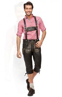 Bavarian leather trousers Scott black nappa goatskin knee length h-beam