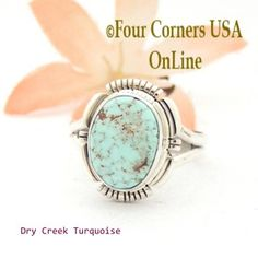 Size 8 1/2 Dry Creek Turquoise Sterling Ring Navajo Artisan Larry Moses Yazzie NAR-1703 Four Corners USA OnLine Native American Jewelry