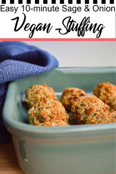 This easy vegan stuffing recipe is perfect for Thanksgiving, Christmas dinner, or as a side for your Sunday roast. It takes just ten minutes to make and is full of Irish-style sage Stuffing Balls Recipe, Sage And Onion Stuffing, Vegetarian Stuffing, Spicy Vegetarian Recipes, Vegetarian Side Dishes, Vegan Main Dishes, Delicious Vegan Recipes, Veggie Recipes, Vegetarian Food