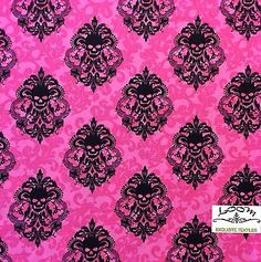 MM99 Skull Damask Spooky Halloween Gothic Manor Scary Cotton Quilting Fabric