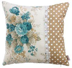 Ev Tekstili| Özel Tasarım Yastık| Provence, | APOLENA, | Apolena Mavi ve Kahve Dekoratif Yastık, | yastık, kırlent, dekoratif yastık, baskılı yastık, desenli yastık