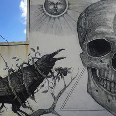 Puerto Rican artist Alexis Diaz (previously here and here) brings incredible detail to the large-scale animals and humans he paints, producing murals that illustrate those both living and dead. Alien lifeforms, tentacles, and dried bone are all created from thousands of tiny brushstrokes, each s