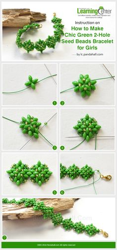 Instruction on How to Make Chic Green 2-Hole Seed Beads Bracelet for Girls