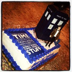 Doctor Who cake. Publix made this for Walker's 11th bday. I took the sheet with the quote and they made edible overlay. I got the Tardis and the the Doctor at Toys R Us!