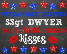 Military Homecoming Sign Military Sign by ChalkTalkDesigns