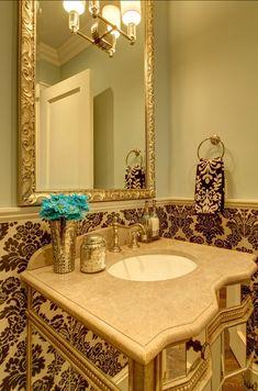 Powder Room. Powder Room Design. Powder Room with Damask Tiles. #PowderRoom #Damask