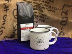 Valentine gift set: two of our incredible, speckled ceramic mugs (12oz) and a 12oz pack of organic coffee, hand roasted at historic Maple Mount Farm, in the hills just south of Nashville, Tennessee  www.ShareRoastery.com