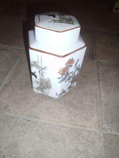 "Oriental Porcelain Jar with Lid Bamboo & Birds 6 "" Hexagon Shaped Ginger Jar?"