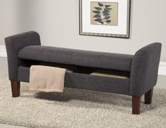Gray Canvas Fabric Bench With Armrest And Storage Also Brown Wooden Short Tapered Legs Placed On Rectangle Light Gray Fur Rug As Well…