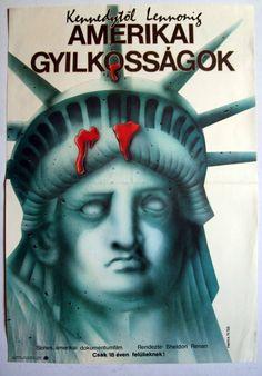 The Killing of America (1981)  Directors: Sheldon Renan, Leonard Schrader  Hungarian vintage movie poster Artist by: Hérics Nándor