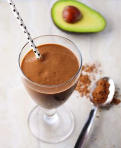 Today I made this Healthy Chocolate Avocado Smoothie with Almond Milk. Yum, yum, yum! I used a frozen Banana, Avocado, Raw Cacao Powder, Honey, Almond Milk.