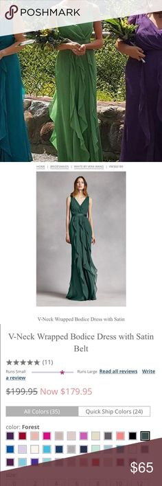 "Vera Wang Bridesmaid Dress Emerald green Vera Wang White Collection bridesmaid dress. Size 2. I'm 5'5"" and had it genes to fit me. Worn only once and has been dry cleaned. No longer comes in the emerald green. Originally $200... selling at Davids Bridal for $180. Get it here for $65!! Vera Wang Dresses Wedding"