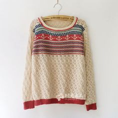 Striped sea anchor knit sweater long sleeved shirts pullover sweater