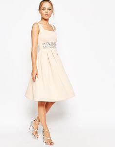 ASOS Scuba Debutante Midi Dress With Embellished Waist
