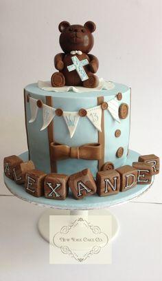 Baby boy christening cake in light blue and brown. Baby Boy Christening Cake, Boy Baptism, New York Cake, Confirmation Cakes, Cake & Co, Baby Cakes, Fondant Cakes, Weeding, Cake Ideas