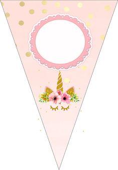 Fiestas Personalizadas Imprimibles: Kit imprimibles de unicornio rosa con dorado Rainbow Unicorn Party, Unicorn Birthday Parties, Printable Banner, Printable Planner Stickers, Printables, Unicorn Banner, Fair Theme, Unicorn Pictures, Unicorn Baby Shower