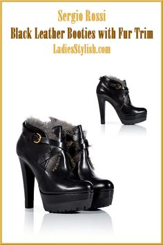 Sergio #Rossi - $1,030 - Black Leather Booties with Fur Trim ... http://ladiesstylish.com/go/designers/Sergio-Rossi/Shoes.html #LadiesStylish #Designer #Shoes