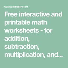 Free interactive and printable math worksheets - for addition, subtraction, multiplication, and division. Printable Math Worksheets, Printables, Math Activities, Teaching Resources, Worksheet Generator, Math Websites, 6 Class, Math Boards, Numeracy