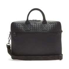 Bottega Veneta Intrecciato-woven panel leather briefcase (33.257.505 IDR) ❤ liked on Polyvore featuring men's fashion, men's bags, men's briefcases, bags, black and mens leather briefcase