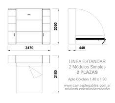 Mueble Cama 2 Plazas Rebatible Simple Con Módulo Lateral Apto Para Colchón 1 40 X 1 90 Camas Medidas De Colchones Medidas De Cama