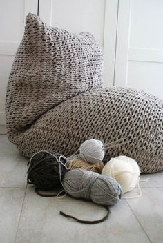 Handmade knitted pouf,100% recycled https://www.facebook.com/SOFTBYDANA