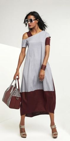 Oblique Grey-Claret Panel Dress | idaretobe authorised UK st
