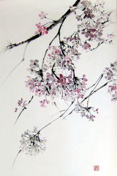 Cherry Blossom 4 Original japonais peinture à l'encre par Suibokuga, €68.00