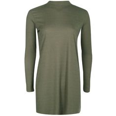 Boohoo Scarlett High Neck Ribbed Shift Dress | Boohoo ($16) ❤ liked on Polyvore featuring dresses, cotton dresses, boohoo dresses, high neck dress, green dress and shift dress