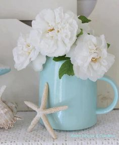 White flowers in aqua pitcher beachy and shabby  #flowers #floral