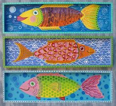 paintings of whimsical fish | Set of 3 Whimsical Fish Signed Original by GulfportArtist on Etsy, $75 ...