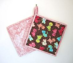 Quilted Potholders Colorful Cats Set of 2 Potholders by ISewTotes