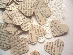 I <3 Jane Austen. Pieces of Pride and Prejudice cut into hearts.