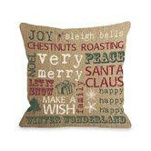 Found it at Wayfair - Christmas Words Paper Woven Polyester Throw Pillow-- Family room?