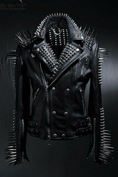 HANDMADE women Jacket Silver Studs and Spikes Black Leather Made to Orders #Handmade #Biker #Casual Spiked Leather Jacket, Studded Jacket, Biker Leather, Leather Men, Black Leather, Cowhide Leather, Leather Jackets, Real Leather, Custom Leather