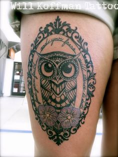 Possible owl tattoo 7 Victorian Frame Tattoos, I Tattoo, Cool Tattoos, Traditional Owl Tattoos, Traditional Frames, Neo Traditional, Framed Tattoo, Guy Pictures, Body Modifications