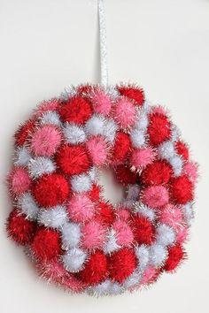 Valentine's Day Wreath Red Pink Silver Pom Pom:
