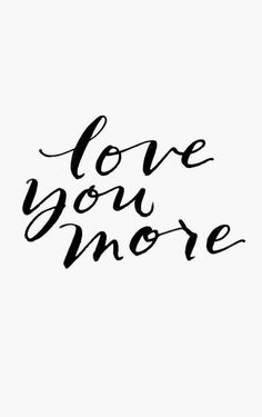 """love you more"" inscribed boldly in black calligraphy. Enclosures are sold as singles with corresponding natural little envelopes. Enclosures measure 2.5 x 3.5 inches. Printed on natural white cover."