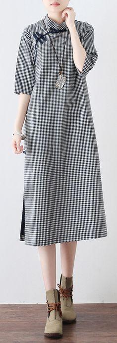 cd6aeca072c3 new 2018 blue white plaid linen dresses vintage Chinese Button half sleeve  dress