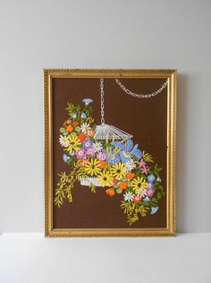 large bouquet of flowers crewel embroidery framed picture // cross stitch // needlepoint // wall hanging