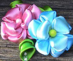 D.I.Y.  Flor de Fitas com 9  petulas Passo a Passo -satin flower