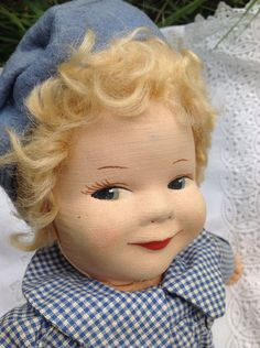 "Vintage 14"" Chad valley 1950s cloth labelled doll all original blue gingham"