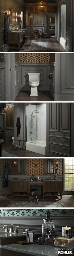 With all the charm of a Victorian manor, this master bathroom brims with drama.