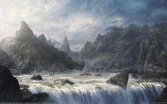 водопад, небо, скалы, горы, облака, город, река, фэнтези