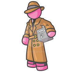 man detective holding a box with something in it, but no one knows what, as shown by the question mark.