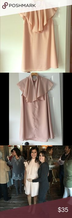 ASOS Maternity High Neck Ruffle Shift Dress If you are looking to be classic yet still trendy for your baby shower, this dress is perfect...short enough to show off your legs while the blush color denotes a sweetness! Looks great with a tan, neutral makeup and nude open toe heels ASOS Maternity Other