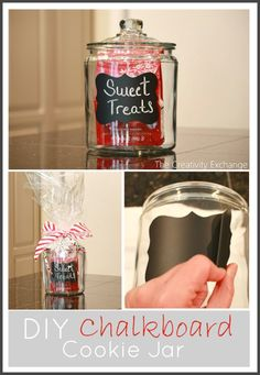 DIY Chalkboard Cookie Jar with printable stencil for the vinyl {no cricut needed} The Creativity Exchange