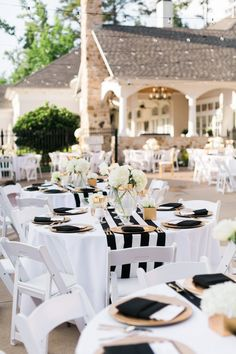nautical black and white outdoor wedding decorations maine garden coral accents linens royal blue silver theme decorating ideas for royal black – Wedding Black White Parties, Gold Wedding Decorations, Black And White Party Decorations, Black And White Centerpieces, Red Centerpieces, Table Decorations, Black White Gold, Black Linen, Dream Wedding