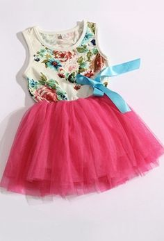 Hot Pink tutu skirt style flower blue ribbon dress Birthday flower girl girls christmas wedding dress for 2, 3, 4, 5 years old on Etsy, $39.99